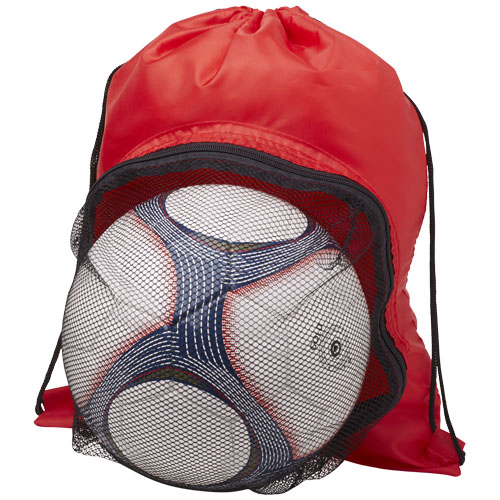Goal drawstring backpack with football compartment