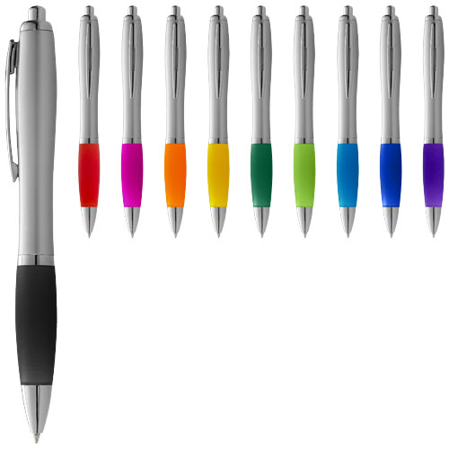 Nash ballpoint pen with silver barrel and coloured grip