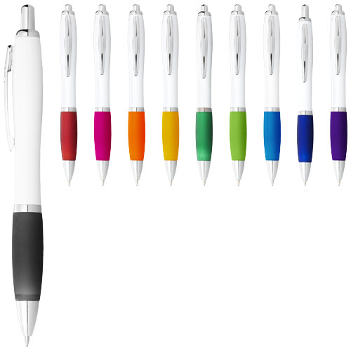 Nash ballpoint pen with white barrel and coloured grip