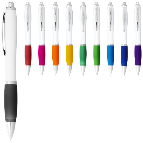 Nash ballpoint pen white barrel and coloured grip