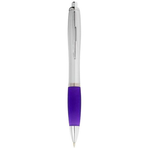 Nash ballpoint pen silver barrel and coloured grip